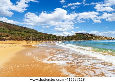 A view of a Golden Bay in Ghajn Tuffieha region, Malta - stock photo