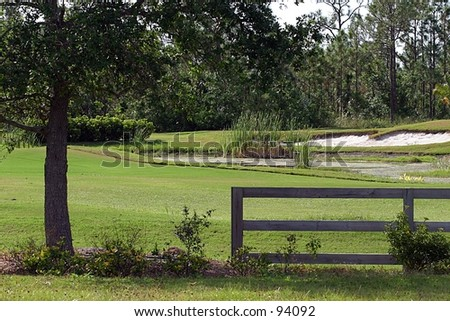 A view of a golf course. - stock photo