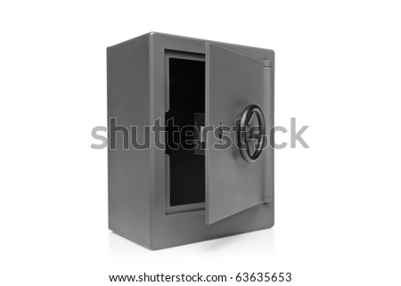 A view of a grey empty safety deposit safe isolated on white background - stock photo