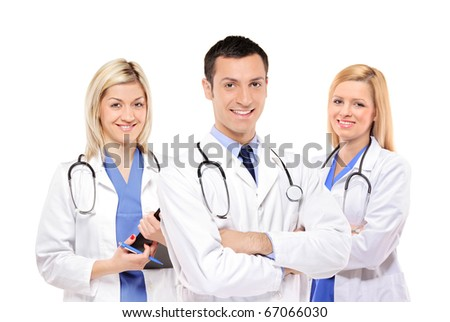 A view of a happy medical team of doctors, man and women, isolated on white background
