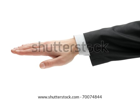 A view of a male hand in black suit isolated on white background