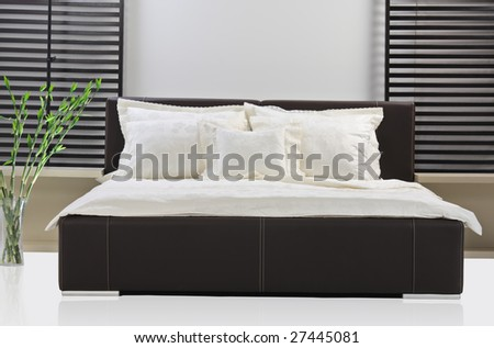 A view of a modern bed room - stock photo