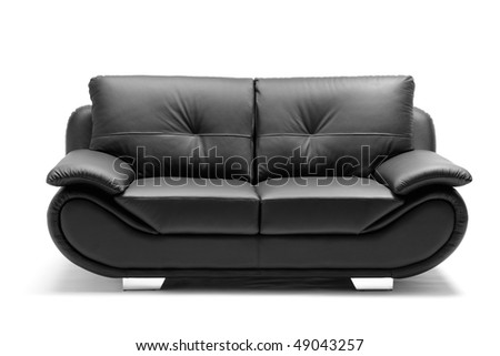 A view of a modern leather sofa isolated on white background - stock photo