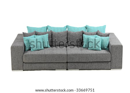 A view of a modern sofa isolated on white background - stock photo