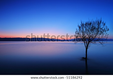 A view of a Ohrid lake at sunset, Macedonia