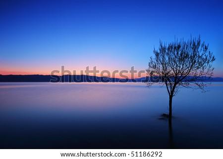 A view of a Ohrid lake at sunset, Macedonia - stock photo