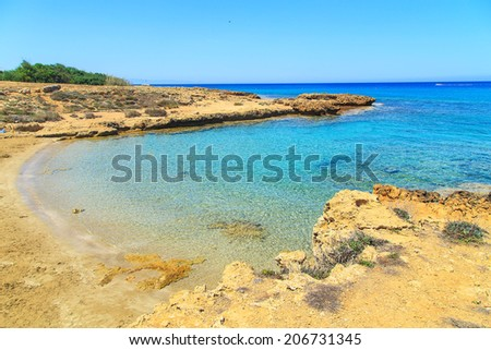 A view of a park near Nissi Beach in Aiya Napa, Cyprus - stock photo