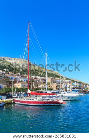 A view of a port in Kalymnos island, Greece - stock photo