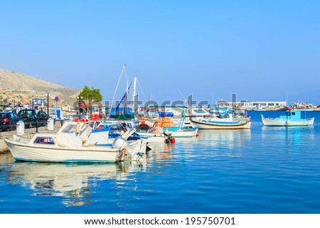 A view of a port in Pothia, Kalymnos island, Greece - stock photo
