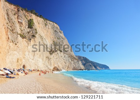 A view of a Porto Katsiki beach on a clear sunny day day, Lefkada island, Greece
