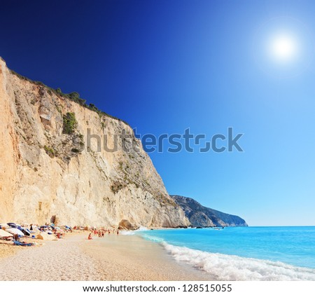 A view of a Porto Katsiki beach on a clear sunny day, Greece, shot with a tilt and shift lens