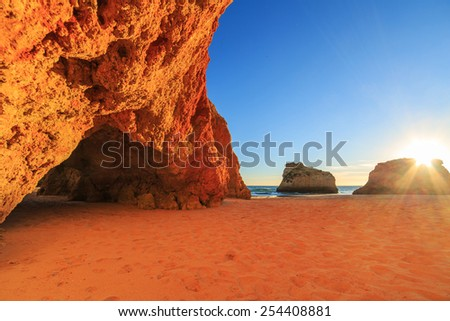 A view of a Praia da Rocha in Portimao, Algarve region, Portugal - stock photo