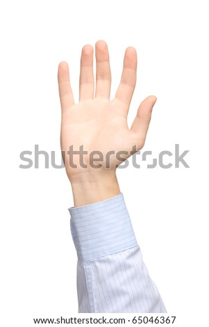 A view of a raised hand isolated on white background