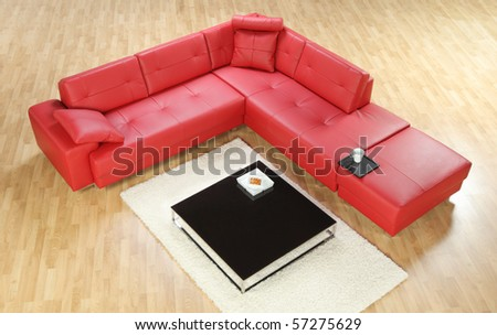 A view of a red modern leather sofa - stock photo