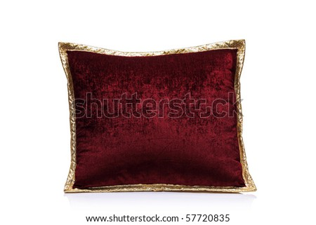 A view of a red pillow isolated on white background - stock photo