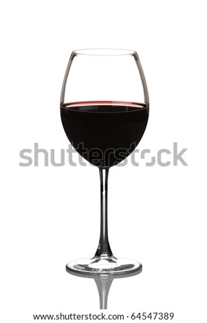 A view of a red wine glass isolated on white background