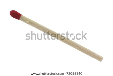 A view of a rough square cut wooden match with red tip.