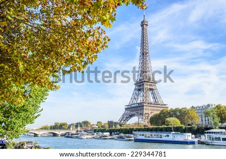 A view of a Seine river with Eiffel Tower in Paris, France  - stock photo