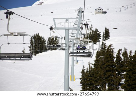 A view of a ski lifts on Mt Hood, Oregon, on a nice day.