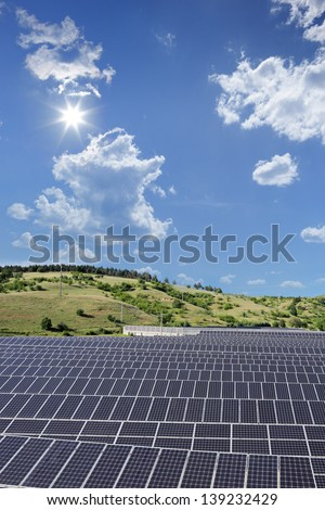 A view of a solar photovoltaic cell panels under sunny sky, Macedonia - stock photo