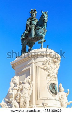 A view of a statue of King Jose I in Lisbon, Portugal  - stock photo