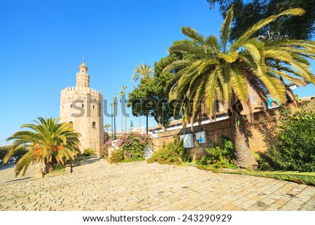 A view of a Tower of Gold - Torre del Oro in Seville, Spain - stock photo