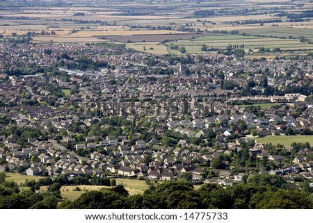 A view of a town or village seen from above - stock photo