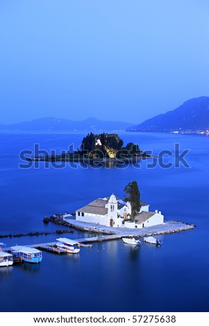A view of a Vlacherna Monastery and Mouse island on Corfu, Greece - stock photo