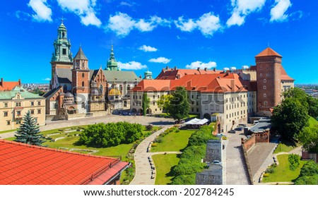 A view of a Wawel castle with Gardens and cathedra, Cracow, Poland - stock photo