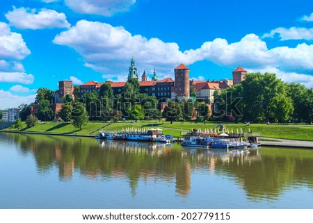 A view of a Wawel Royal castle and Vistula river, Cracow, Poland - stock photo