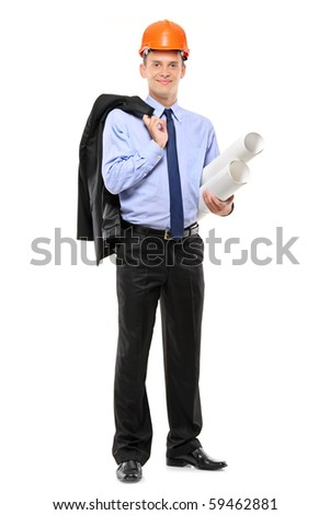 A view of a young construction worker wearing helmet and holding blueprints isolated on white background - stock photo