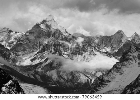 A View of Ama Dablam from Lobuche East Attack Camp - stock photo