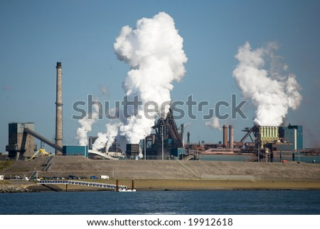 A view of an industrial estate with factory in Amsterdam, Holland. - stock photo