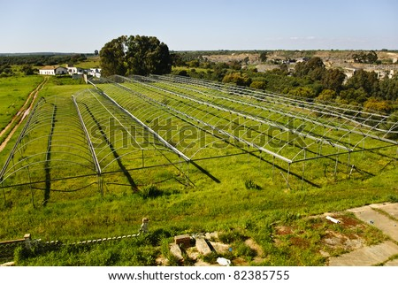 A view of an old and abandoned greenhouse  outside of Huelva in Andalusia, Spain - stock photo