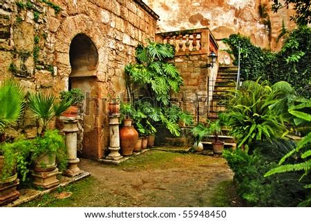A view of arab baths in Palma de Mallorca, Spain - stock photo