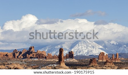 A View of Arches National Park in Moab, Utah  - stock photo