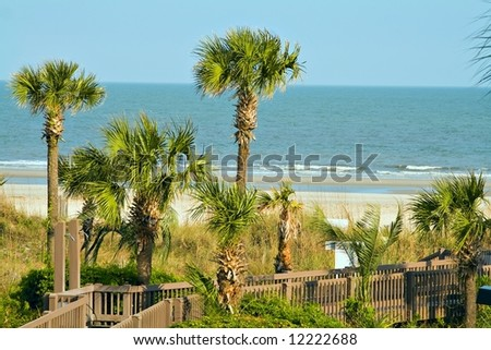 A view of Atlantic ocean from coastal beach at Hilton Head Island, SC USA - stock photo