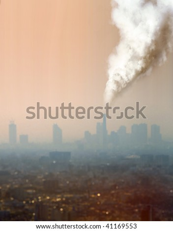 a view of atmospheric air pollution from factory - stock photo
