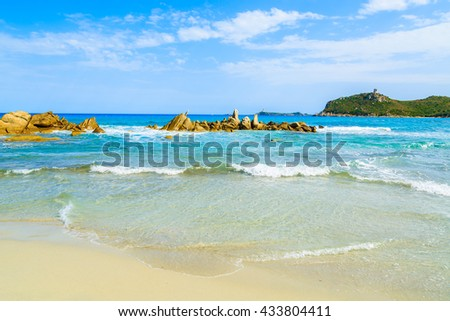 A view of beautiful sandy Villasimius beach, Sardinia island, Italy