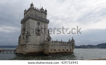 A view of Belem Tower in Lisbon, Portugal