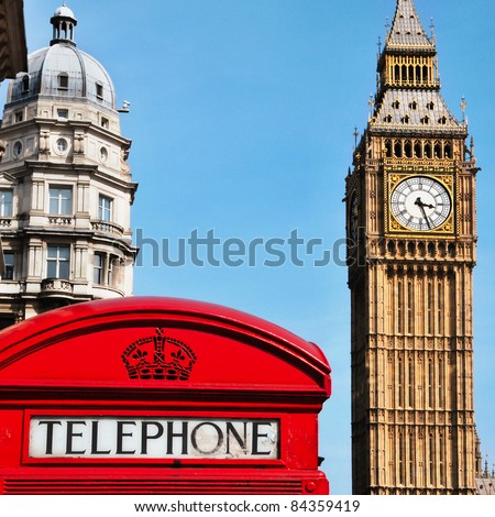 a view of Big Ben and a classic red phone box in London, United Kingdom - stock photo