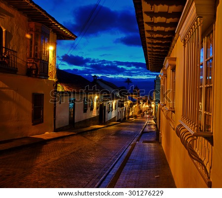 A view of Bogota's colonial neighborhood taken at night - stock photo