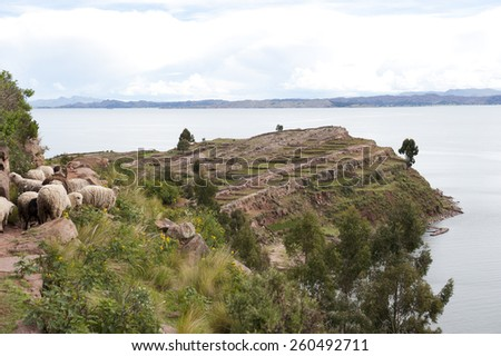 A view of Bolivia from Taquile island on a sunny day. - stock photo