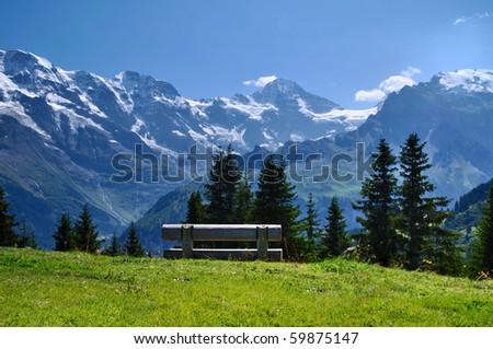 A View of Breithorn peak from Allmendhubel Switzerland - stock photo