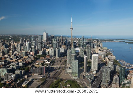 A view of buildings in downtown Toronto during the day viewed from the air - stock photo