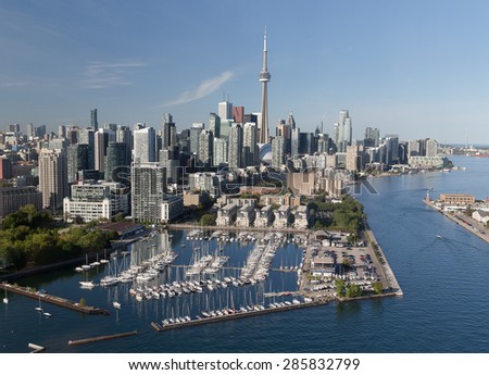 A view of buildings in downtown Toronto viewed from the air - stock photo