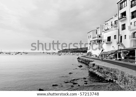 A view of Cadaques coast, Costa Brava, Spain, in black and white - stock photo
