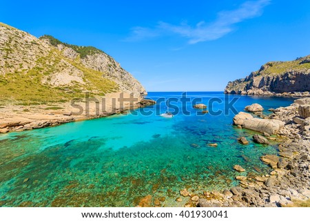 A view of Cala Figuera bay on Cap Formentor, Majorca island, Spain - stock photo