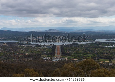 A view of Canberra cityscape from Mount Ainslie