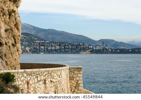 A view of Cap-Martin, captured from a coastal walkway in Monte Carlo, Monaco. - stock photo